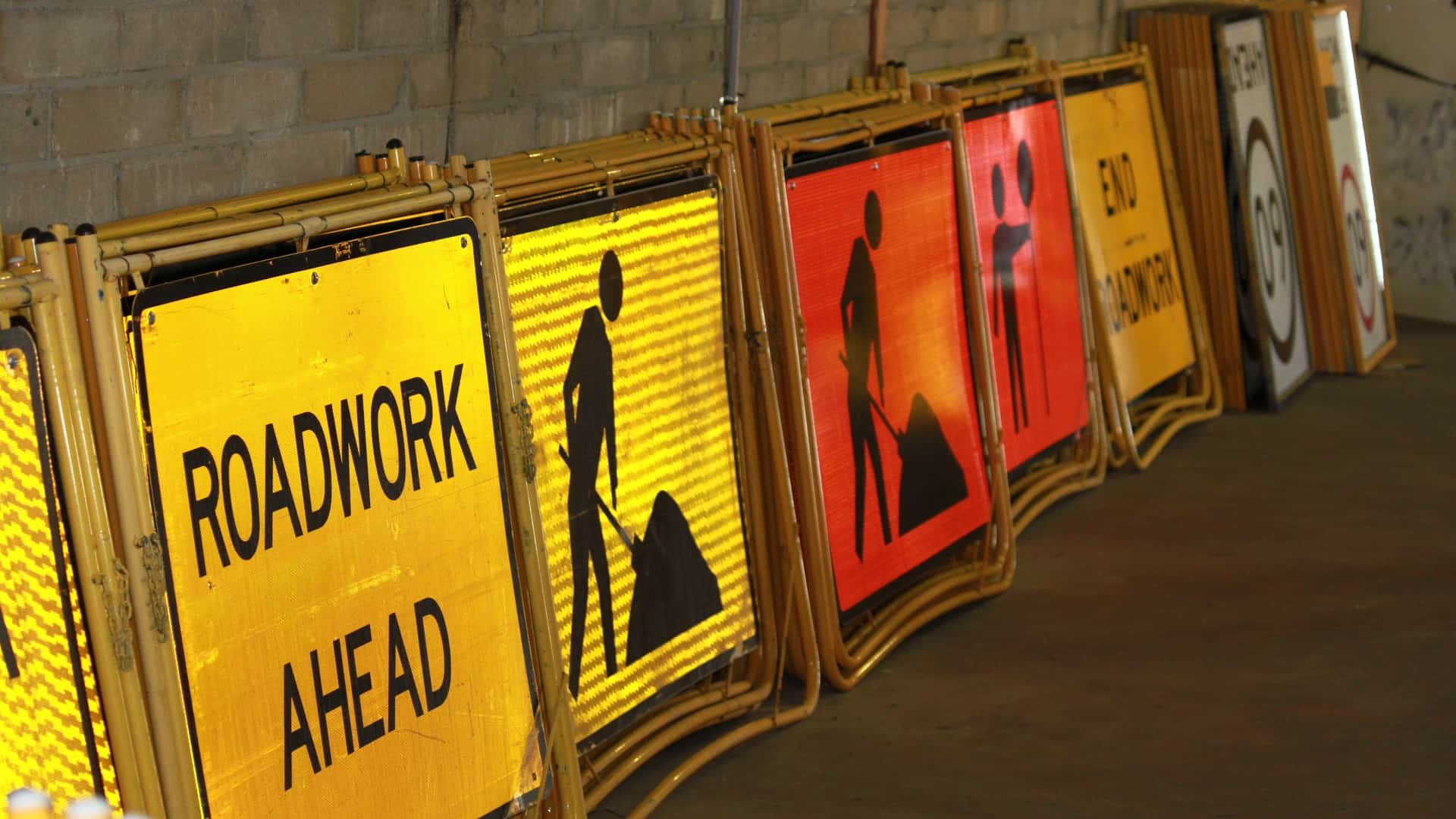 Roadwork Ahead and other traffic management signs
